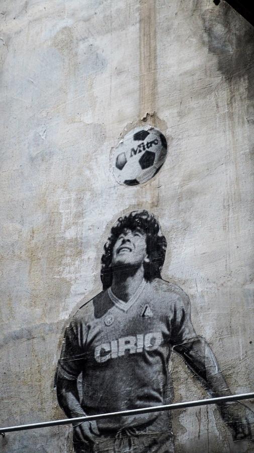 Graffito che rappresenta Diego Armando Maradona.